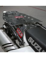 Suzuki luggage plate mounted to Dr 650 carry rack